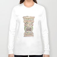 tiki Long Sleeve T-shirts featuring Tiki by Lauren Ellisa