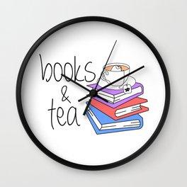 Books and Tea Bookworm Wall Clock
