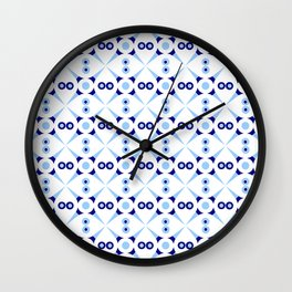 Symmetric patterns 141 Dark and light blue Wall Clock