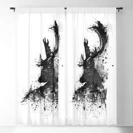 Deer Head Watercolor Silhouette - Black and White Blackout Curtain