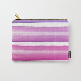 Simply hand painted pink and magenta stripes on white background  2-Mix and Match Carry-All Pouch