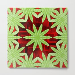 Merry Christmas Green kaleidoscope on red Metal Print