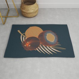 Coconuts and coconut tree branch Rug