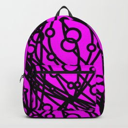 Black molecular helix with circles on a purple background. Backpack