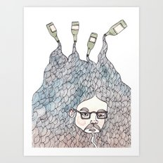 Bottle Beard Art Print