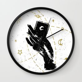 Black witch's hand with symbolic cosmos Wall Clock