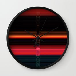 Bright Red Stripes with a Twist Wall Clock