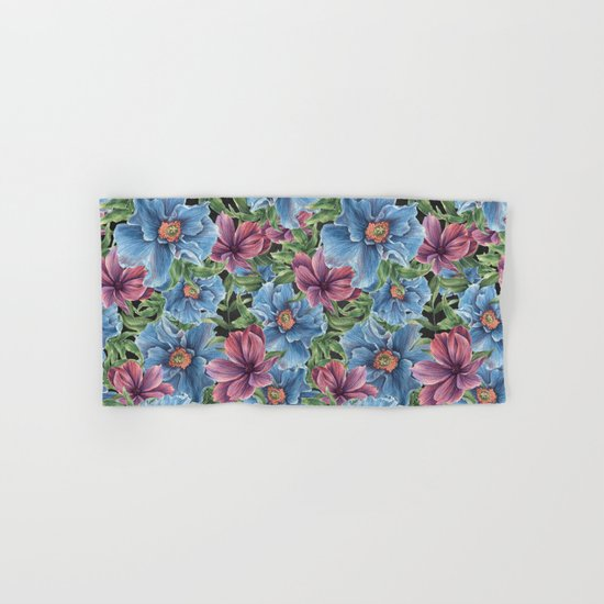 Hibiscus Flowers on Chalkboard Hand & Bath Towel