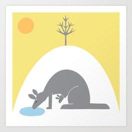 Ultimate Gray Kangaroos under an Illuminating Yellow Sky Art Print