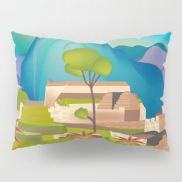 Machu Picchu, Peru - Skyline Illustration by Loose Petals Pillow Sham
