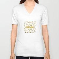 dna V-neck T-shirts featuring Gold DNA by kartalpaf