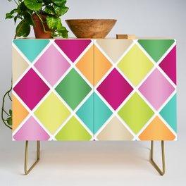 Modern Diamond Geometric Pattern Design // Pink Orange Green Blue Credenza