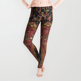 Persian Medallion Rug VII // 16th Century Distressed Red Green Blue Flowery Colorful Ornate Pattern Leggings