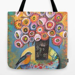 Bluebird with Bouquet by Robynne Tote Bag