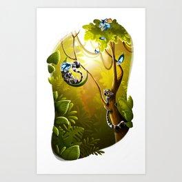 Ringtail Lemurs Art Print