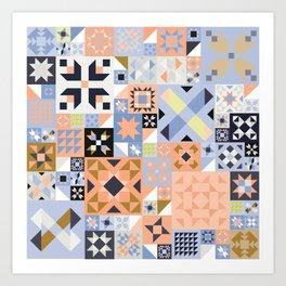 Peach and Lavender Quilt Art Print