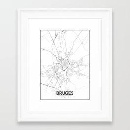 Minimal City Maps - Map Of Bruges, Belgium. Framed Art Print