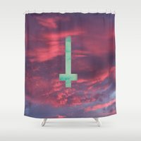 lsd Shower Curtains featuring LSD cross in the sky by SaraSea
