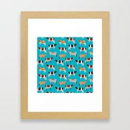 Dairy Breeds // Cerulean Framed Art Print