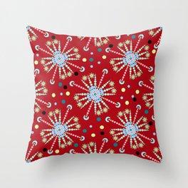 mandala pattern on red background Throw Pillow