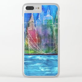 New York Skyline Drawing Clear iPhone Case