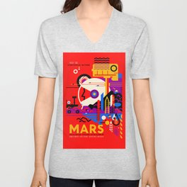 NASA Mars The Red Planet Retro Poster Futuristic Best Quality Unisex V-Neck