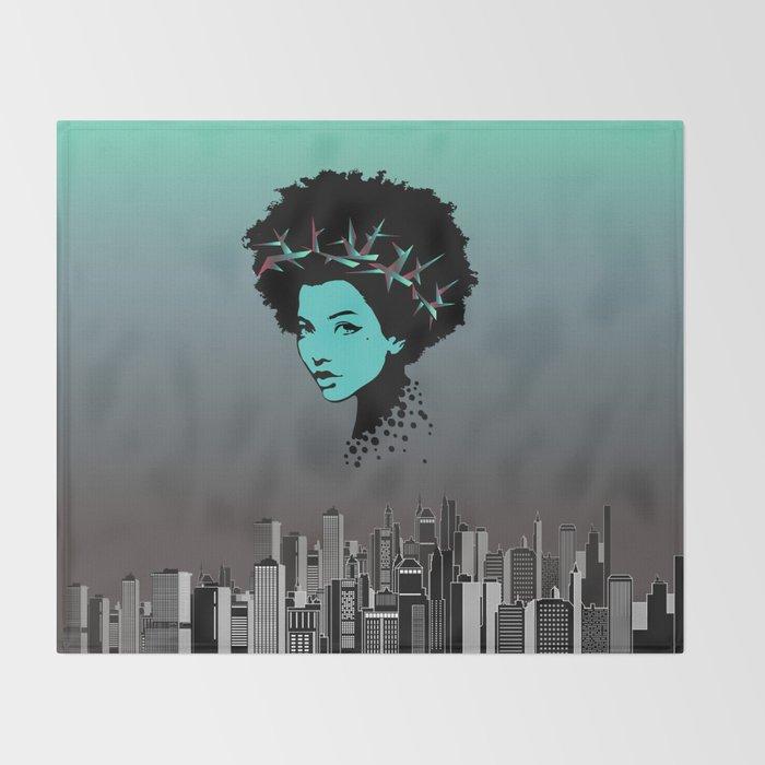 Girl portrait and skyline Throw Blanket