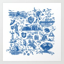 "Zelda ""Hero of Time"" Toile Pattern - Zora's Sapphire Art Print"