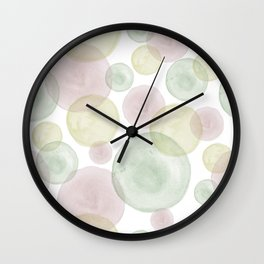 Hazy Spring Watercolour Circles Design Wall Clock