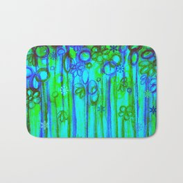 WINTER GARDEN -Bright Blue Green Neon Snowflake Floral Abstract Watercolor Painting and Digital Art Bath Mat