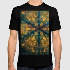 Tribal mandala in blue and gold Black MEDIUM Mens Fitted Tee