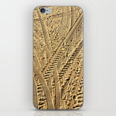 Tire tracks in the sand. iPhone & iPod Skin