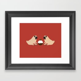Christmas Pudding and Pugs Framed Art Print