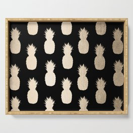 Gold Pineapples Pattern Black Serving Tray