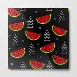 Mosaic watermelon on black Metal Print