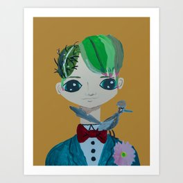 ~ Cactus Hair Jude & Roadrunner ~ 10 year old Artist Amelia Milly Moo Art Print