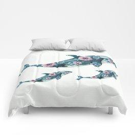 Rose Garden Whales Comforters