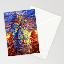 native american colorful portrait Stationery Cards