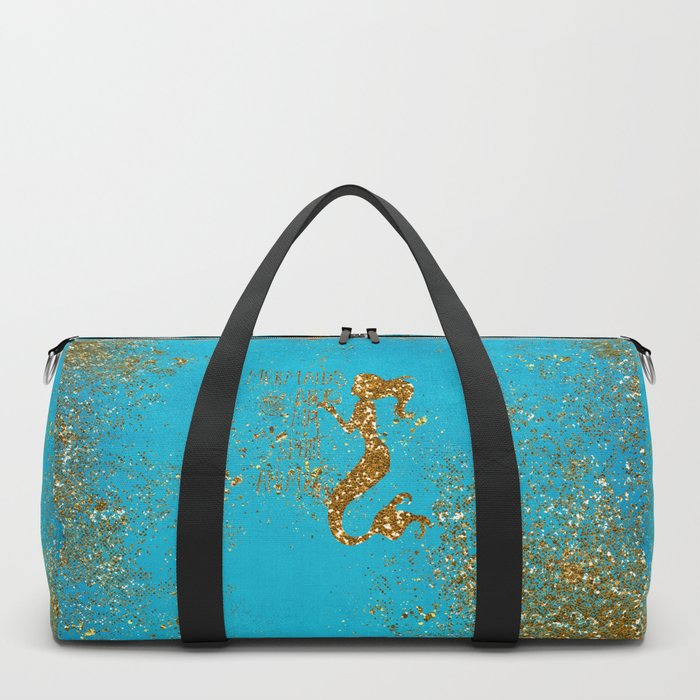 Glitter Typography - Mermaids Are My Favorite Animal Duffle Bag