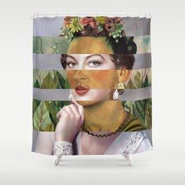 Frida's Self Portrait with Hand Earrings & Ava Gardner Shower Curtain