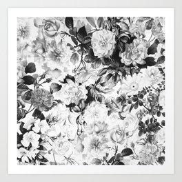 Black gray modern watercolor roses floral pattern Art Print