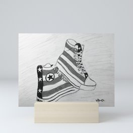 black and white rock and roll Mini Art Print