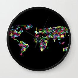 Tetris world (black one) Wall Clock