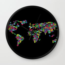 Tetris world (black one) Wall Clock