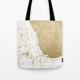 Chicago Gold and White Map Tote Bag