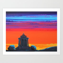 Calton Hill in Orange Art Print