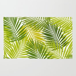 Palm leaf silhouettes seamless pattern. Tropical leaves. Rug