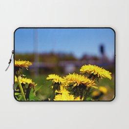 Concept flora . Dandelions in a field Laptop Sleeve