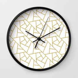Gold and White Abstract Geometric Glitter Pattern Wall Clock