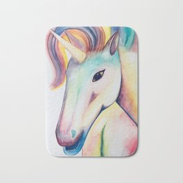 Rainbow Unicorn Watercolour Bath Mat